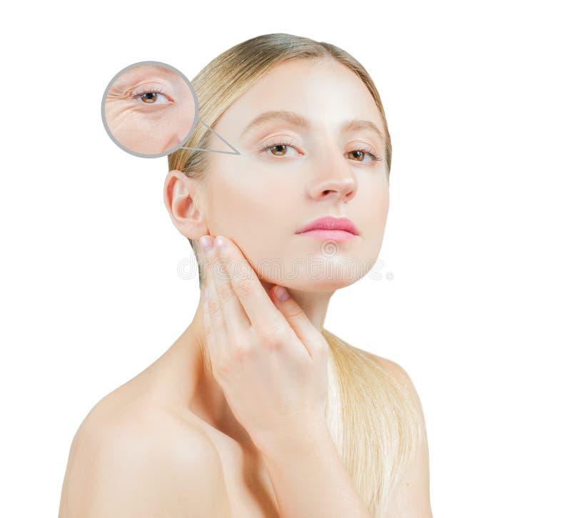 Begrepp av hudföryngring, härlig kvinna med perfekt hud på framsidan royaltyfria bilder