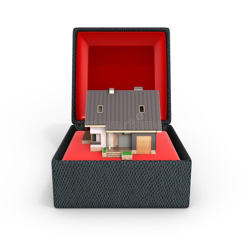 Begrepp av hus som ett modernt hus för gåva med ett garage i gåvaask med rött material som isoleras på vit bakgrund 3d för att fr stock illustrationer