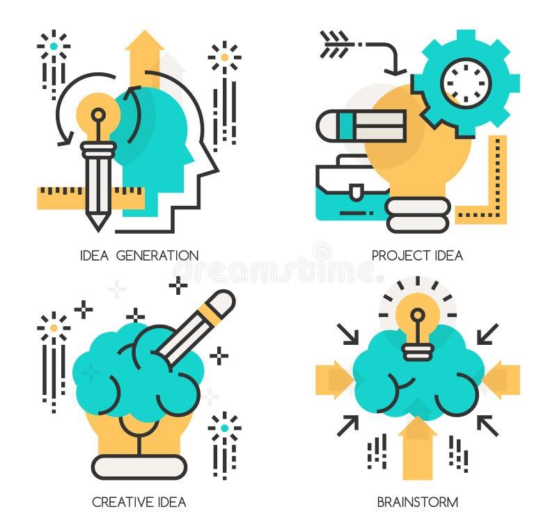 Begrepp av idéutvecklingen, projektidé royaltyfri illustrationer
