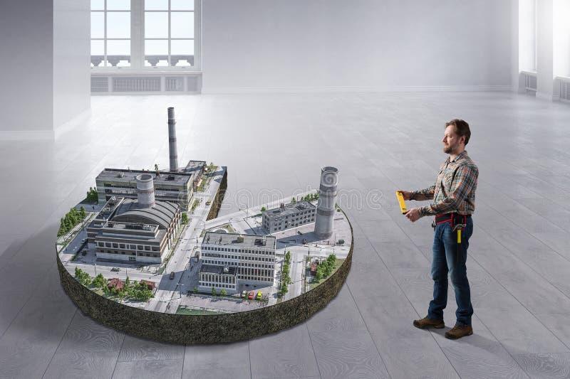 Begrepp av industriell konstruktion Blandat massmedia royaltyfri fotografi