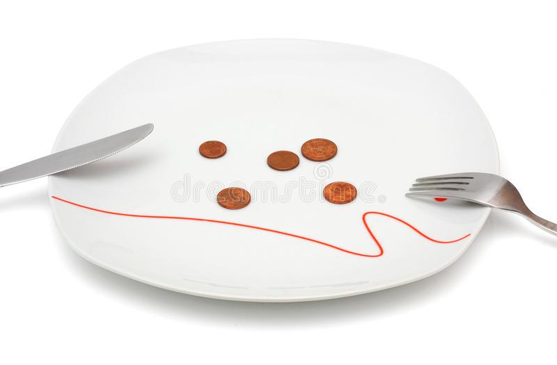 Begrepp av inga pengar för mat med mynt och plattan royaltyfri foto