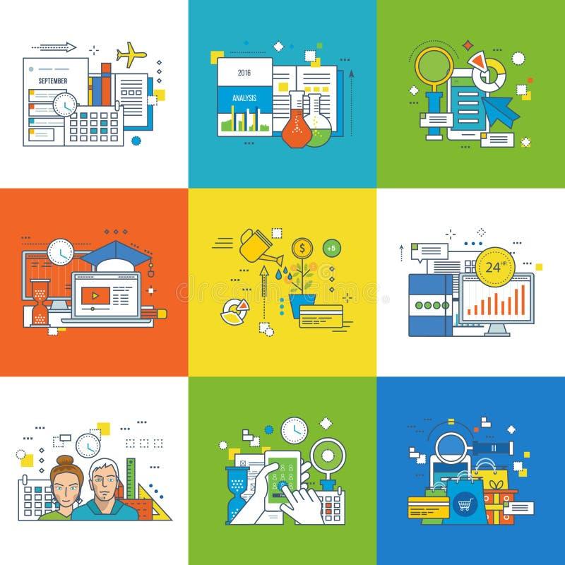 Begrepp av innovation, marknadsföring, framgång, i att lära, investering, arbetsplats stock illustrationer