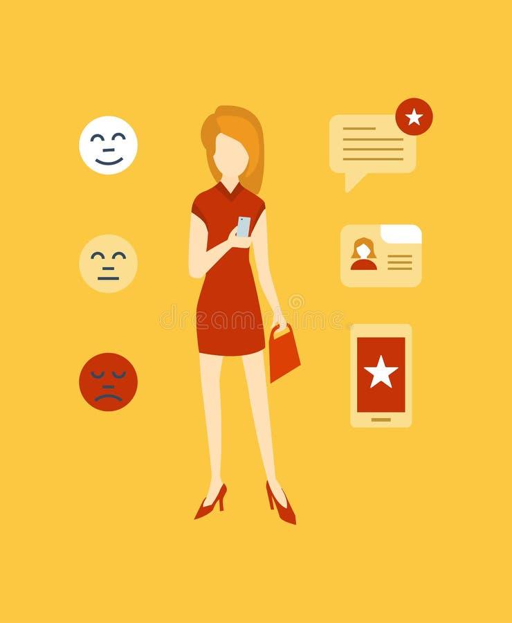 Begrepp av intyg, online-shopping, återkoppling, mobilen app och granskningar vektor illustrationer