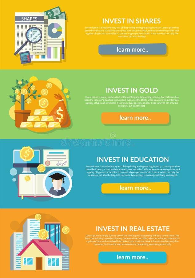 Begrepp av investeringen i utbildningsguldegenskap royaltyfri illustrationer