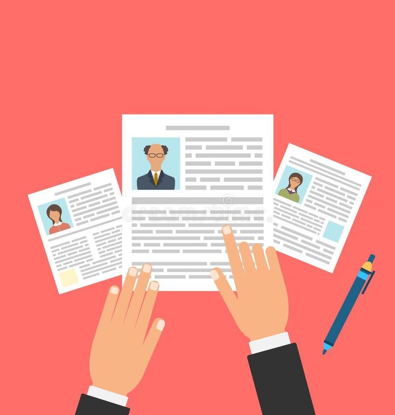 Begrepp av Job Interview med affärsCV-meritförteckningen stock illustrationer