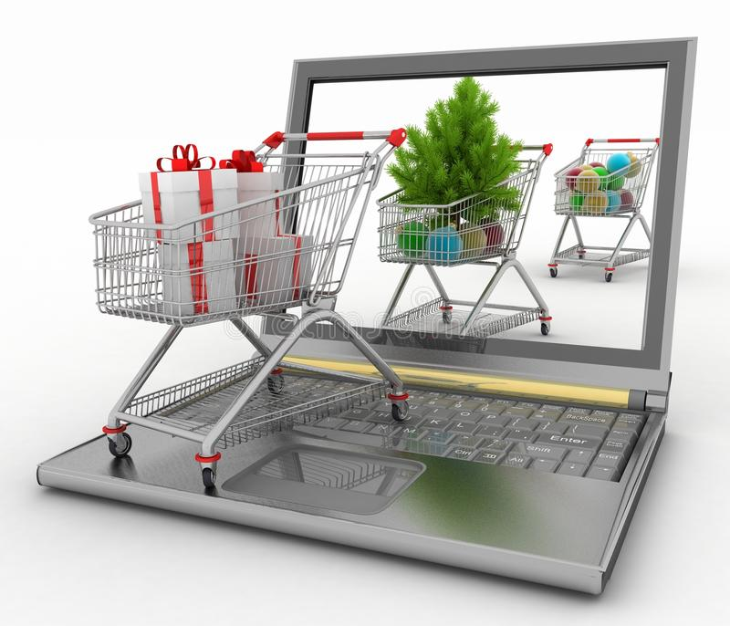 Begrepp av julonline-shopping vektor illustrationer