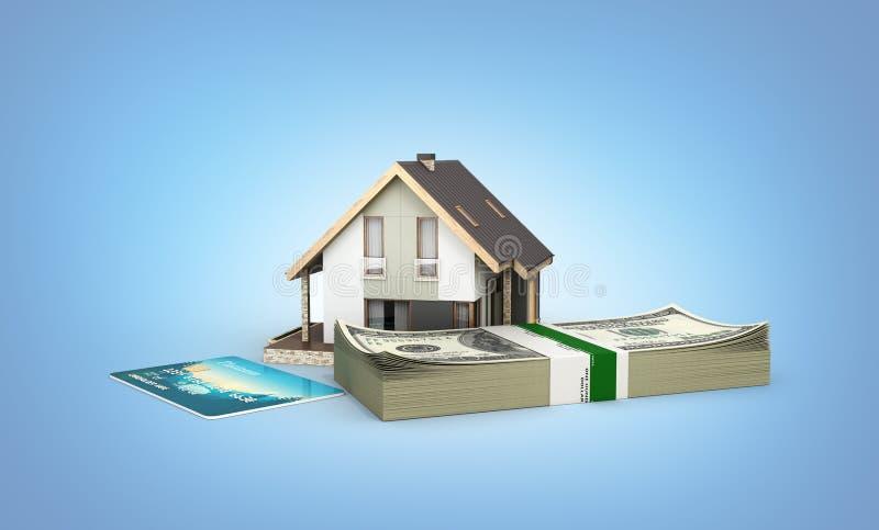 Begrepp av köpet eller betalning för att inhysa huset med en bunt av pengaramerikanen hundra dollarräkningar och kreditkort som i vektor illustrationer