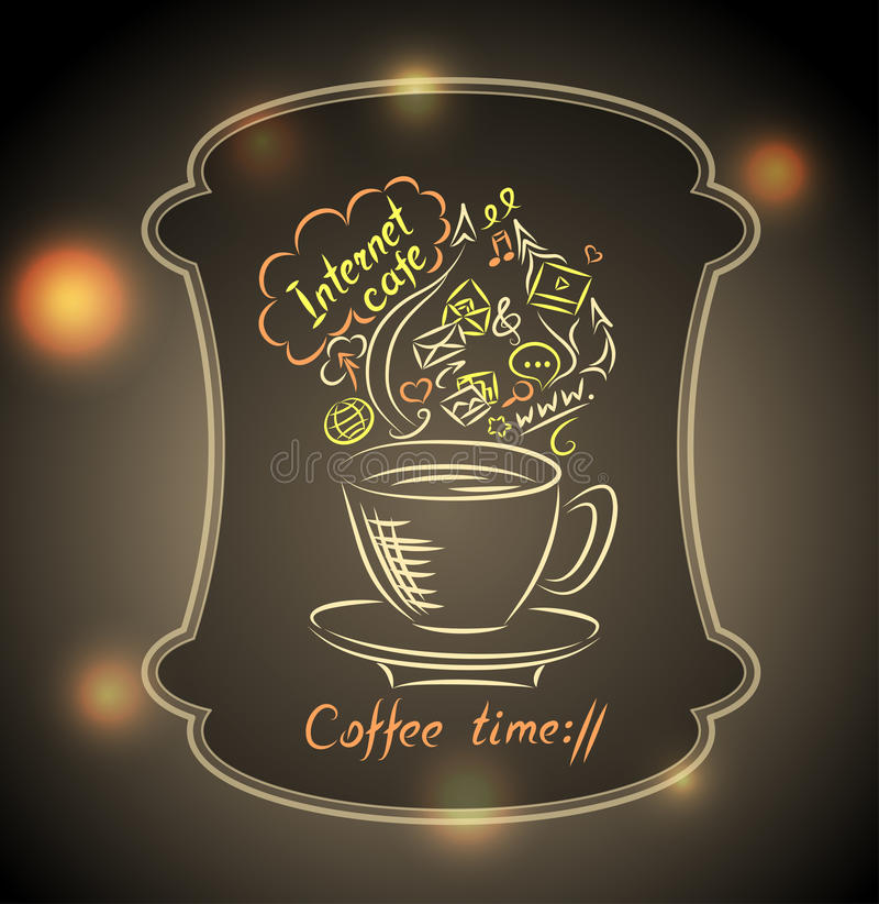 Begrepp av kaffetid med jordexponeringsglas på stadljusbakgrund vektor illustrationer
