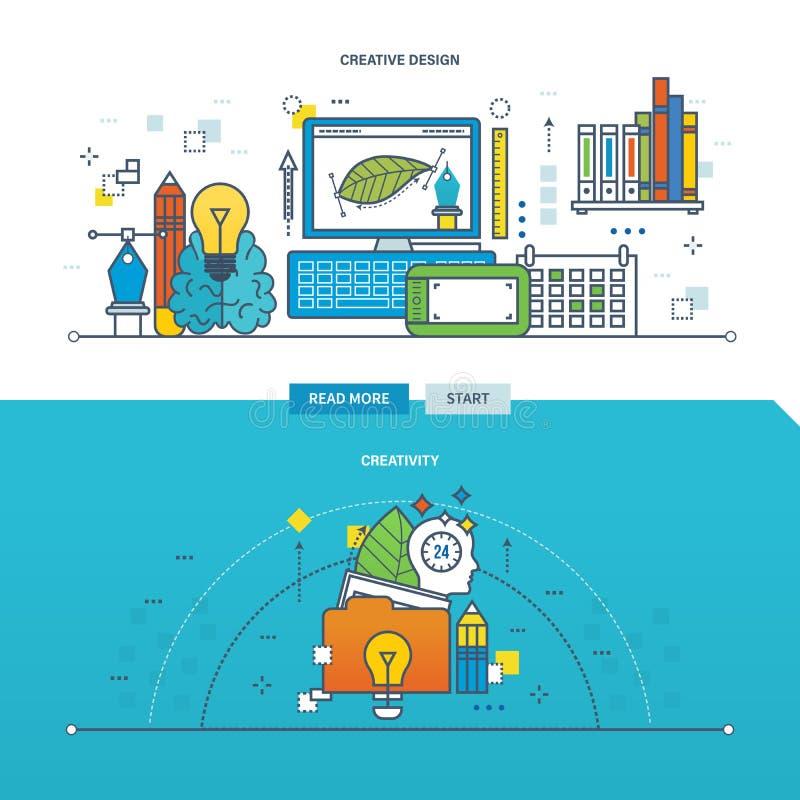 Begrepp av kreativitet, innovation och den idérika designen stock illustrationer