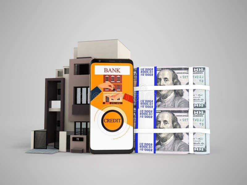 Begrepp av lånet till och med telefonen i banken i dollar på en lägenhet stock illustrationer