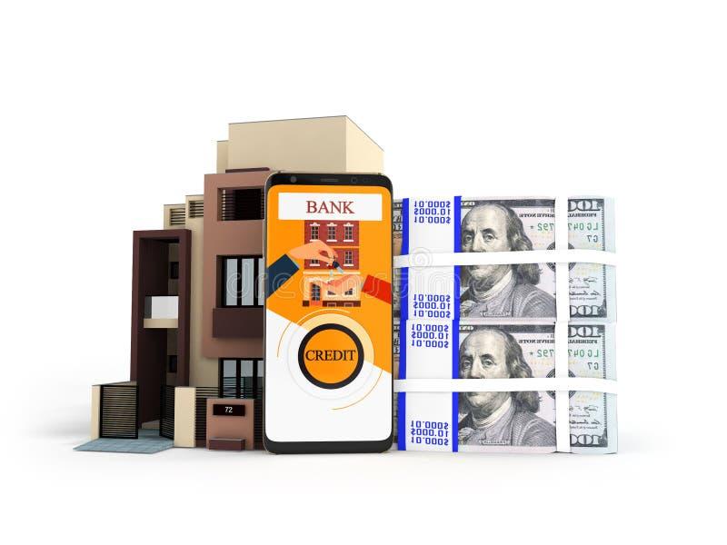 Begrepp av lånet till och med telefonen i banken i dollar på en lägenhet royaltyfri illustrationer