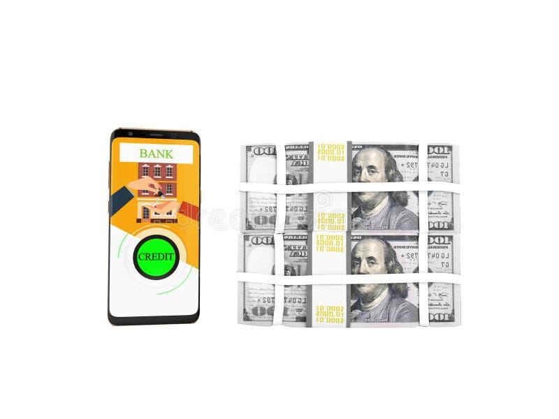Begrepp av lånet till och med telefonen i banken i dollar på tangenterna royaltyfri illustrationer