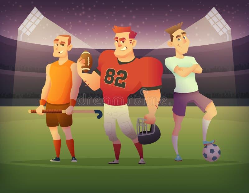 Begrepp av lagsportar Fotboll-, fotboll- och syrsaspelare står på fältet av stadion på natten royaltyfri illustrationer