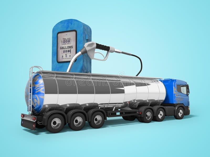 Begrepp av lastbilbehållarelastbilen 3d att framföra på blå bakgrund med skugga royaltyfri illustrationer