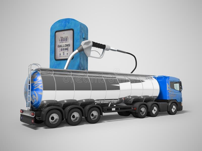 Begrepp av lastbilbehållarelastbilen 3d att framföra på grå bakgrund med skugga vektor illustrationer