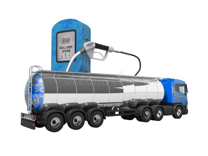 Begrepp av lastbilbehållarelastbilen 3d att framföra på vit bakgrund ingen skugga vektor illustrationer