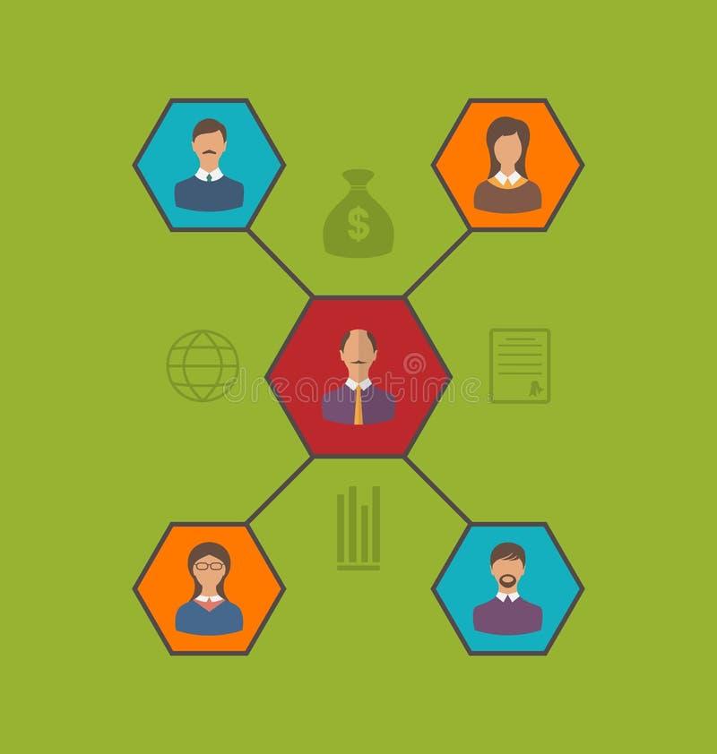 Begrepp av ledarskap och lagaffärsfolk Plan stilsymbol stock illustrationer