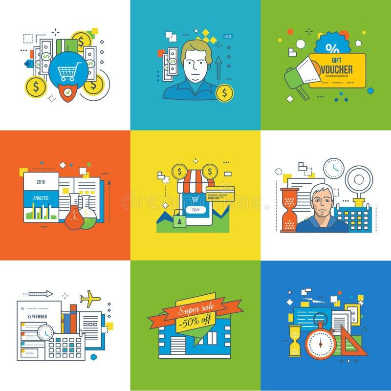 Begrepp av ledning och försäkring, shopping och rabatter, planläggning royaltyfri illustrationer