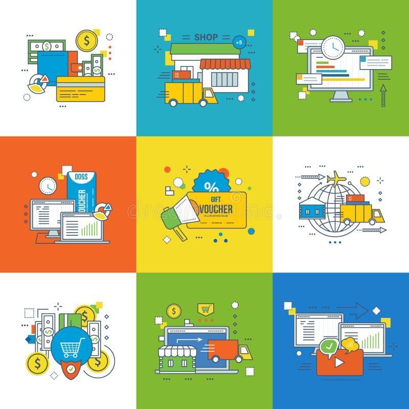Begrepp av ledning, shopping och leverans, advertizing, start och innovation royaltyfri illustrationer