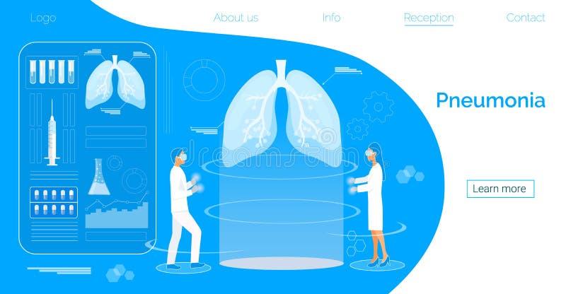 Begrepp av lung- fibrosis, tuberkulos, lunginflammation, lungadiagnosröntgenapparat royaltyfri illustrationer