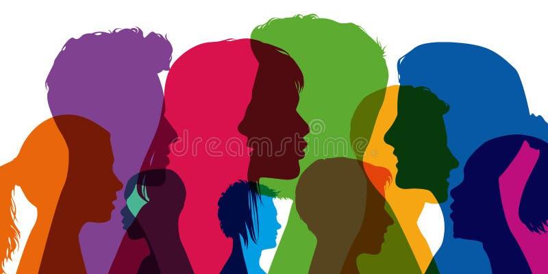 Begrepp av mångfald, med konturer i färger; uppvisning av olika profiler av unga män och kvinnor royaltyfri illustrationer
