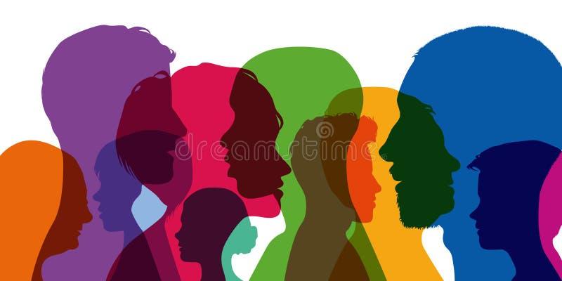 Begrepp av mångfalden av mänsklighet med superpositionen av olika profiler royaltyfri illustrationer