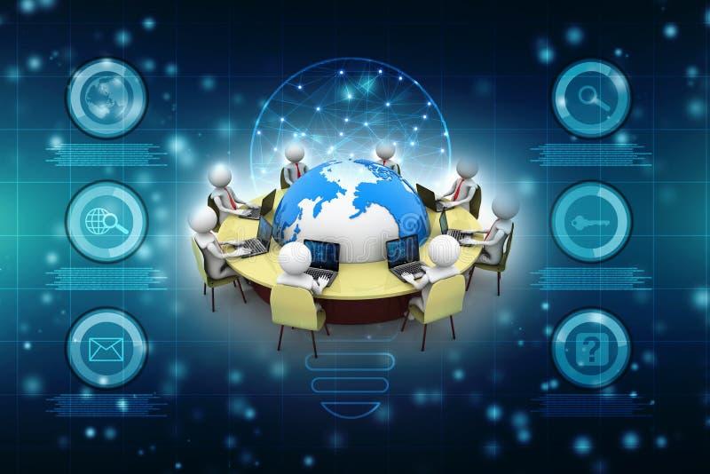 Begrepp av mötet, utbildning och att lära, presentation  royaltyfri illustrationer