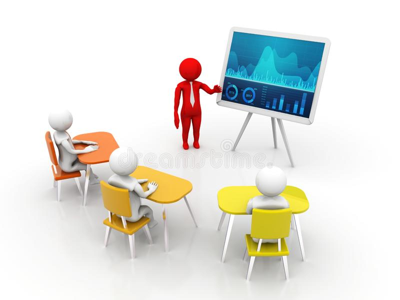 Begrepp av mötet, utbildning och att lära, presentation Isolerad vit bakgrund, 3d framför stock illustrationer
