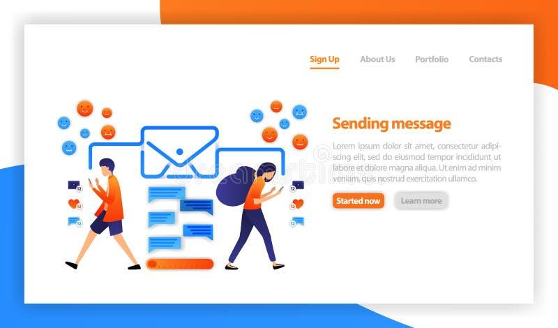 Begrepp av mejlmeddelandet Ögonblicklig messaging och prata Online-kommunikation kommunikation via internet som är social stock illustrationer
