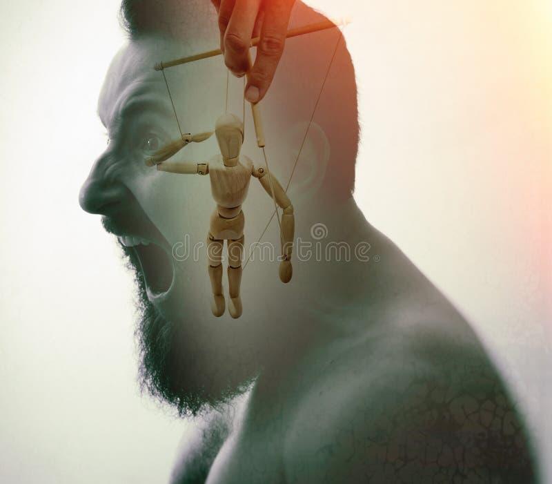 Begrepp av meningsbehandlig och hypnos arkivfoto