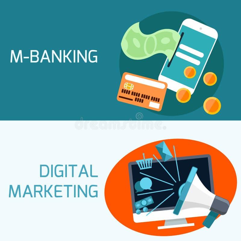 Begrepp av mobila bankrörelsen, digital marknadsföring stock illustrationer