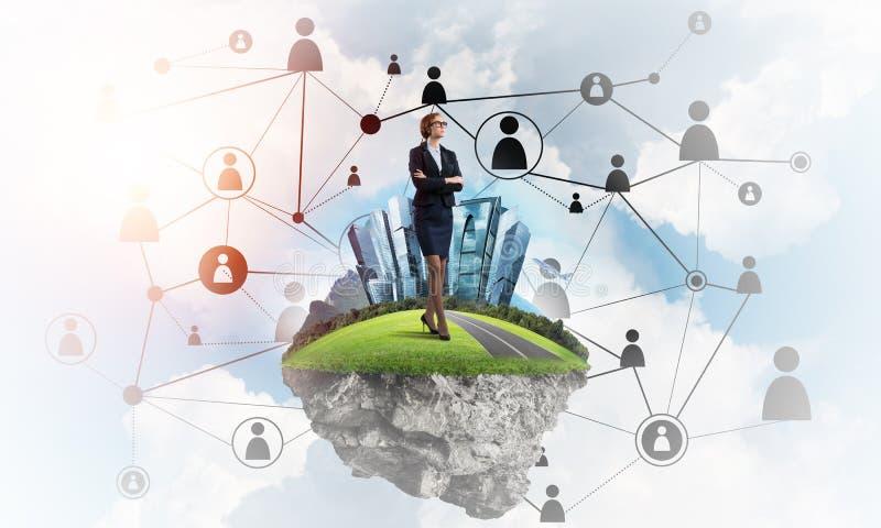 Begrepp av moderna trådlösa teknologier som det effektiva hjälpmedlet för att knyta kontakt affär stock illustrationer