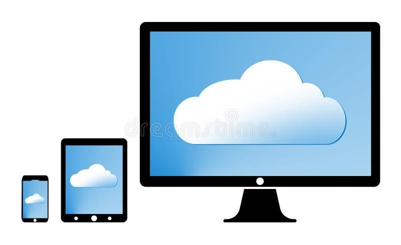 Begrepp av molnet på minnestavlan stock illustrationer