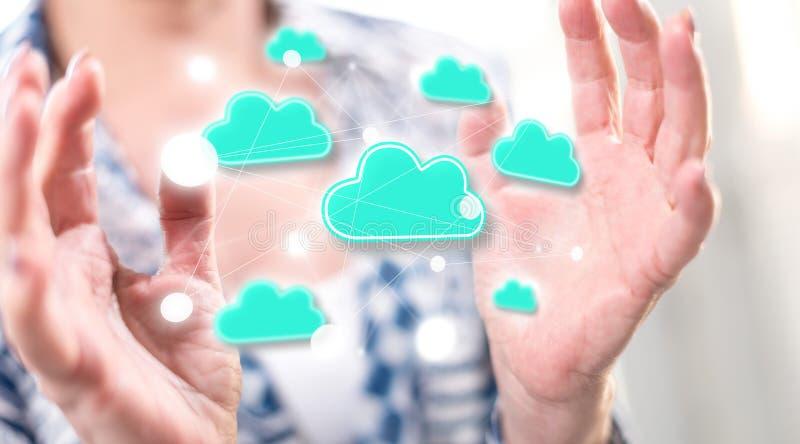 Begrepp av molnn?tverkande royaltyfria bilder