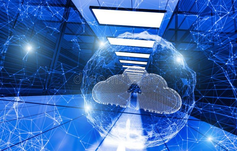 begrepp av molnservice från partiklar och linjer på bakgrund av begreppet för datorhallservermoln som komponeras av polygoner l?g stock illustrationer