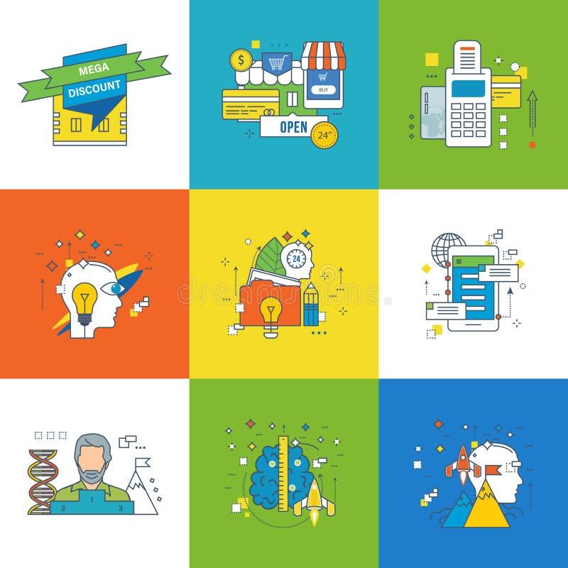 Begrepp av motivationen, utveckling, framgång, i att lära, starten och innovation stock illustrationer
