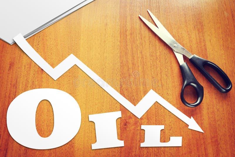 Begrepp av nedgång i oljepriser royaltyfri fotografi