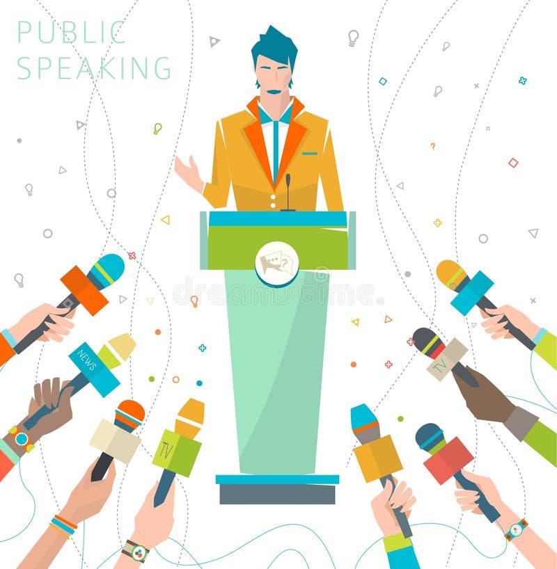 Begrepp av offentligt tala royaltyfri illustrationer