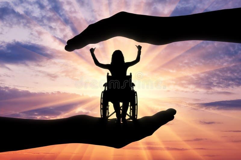 Begrepp av omsorg och hjälp för folk med handikapp fotografering för bildbyråer