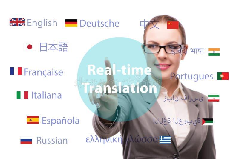 Begrepp av online-översättningen från utländskt språk royaltyfri fotografi