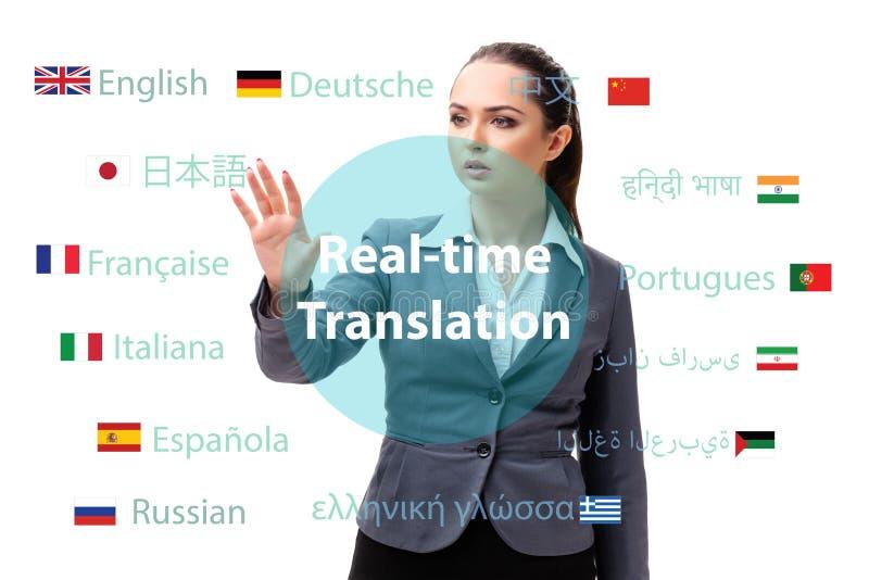 Begrepp av online-översättningen från utländskt språk royaltyfria bilder