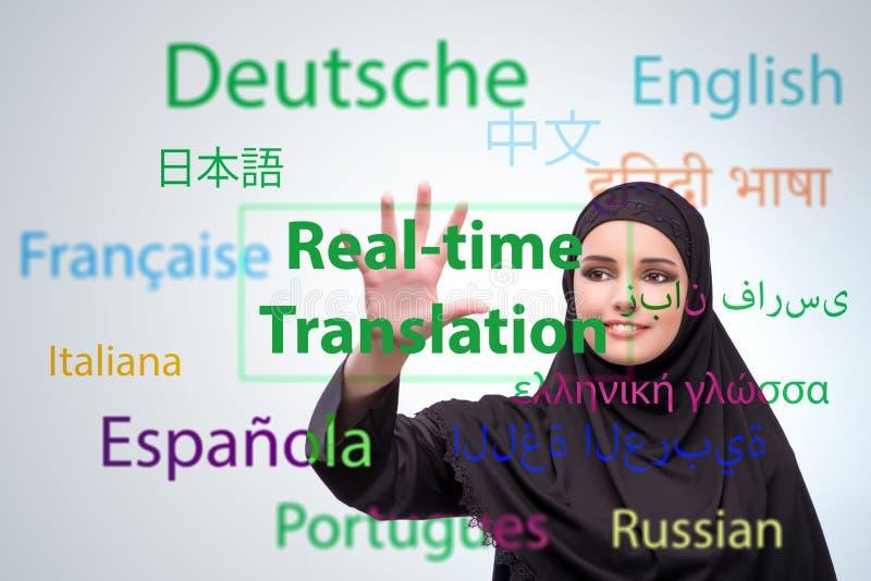 Begrepp av online-översättningen från utländskt språk arkivbilder