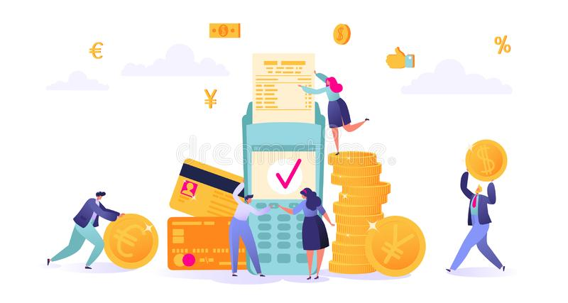 Begrepp av online-bankrörelsen, pengartransaktionsteknologi Affärs- och finanstema Kreditkort och betalningterminal vektor illustrationer