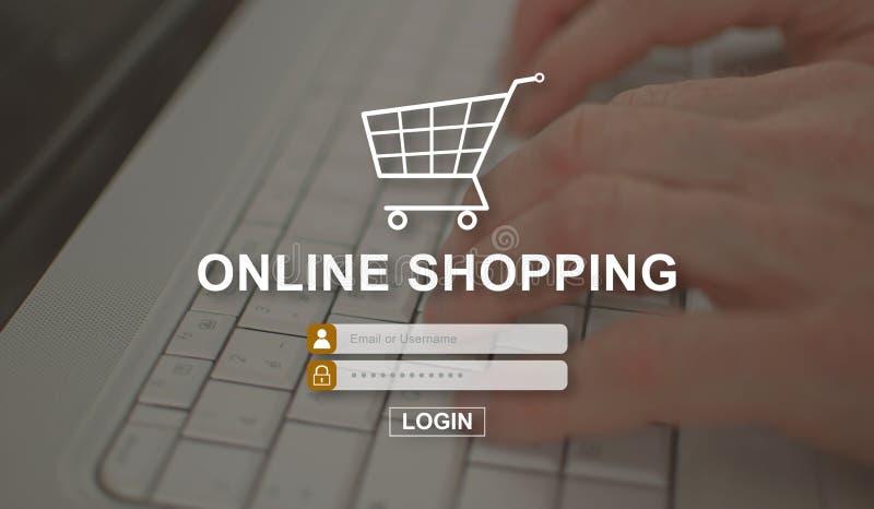 Begrepp av online-shopping fotografering för bildbyråer