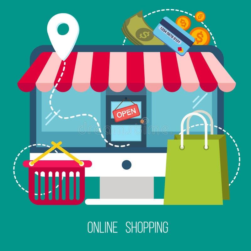 Begrepp av online-shopping i plan design vektor illustrationer