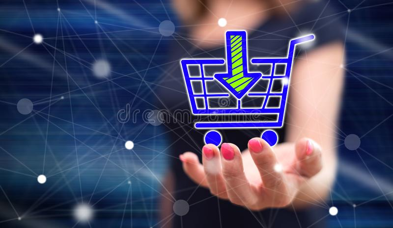 Begrepp av online-shopping arkivfoto