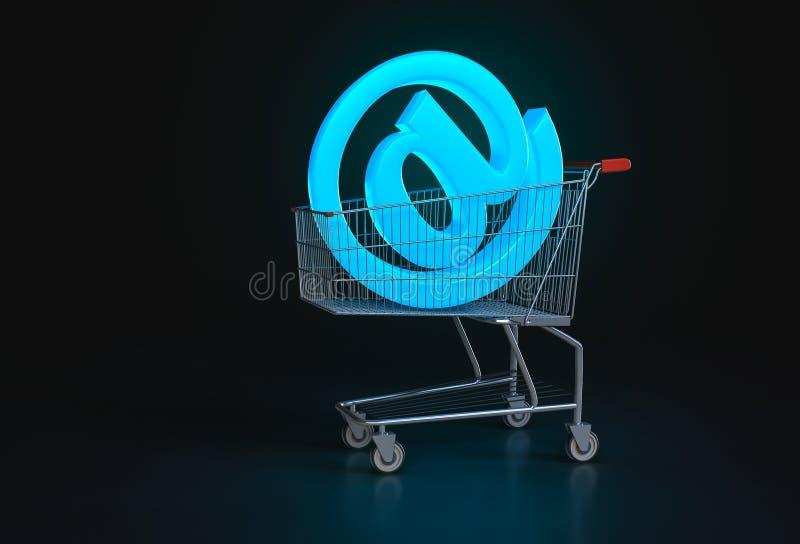 Begrepp av online-shopping Stort blått@ tecken som ligger, i att shoppa ca stock illustrationer
