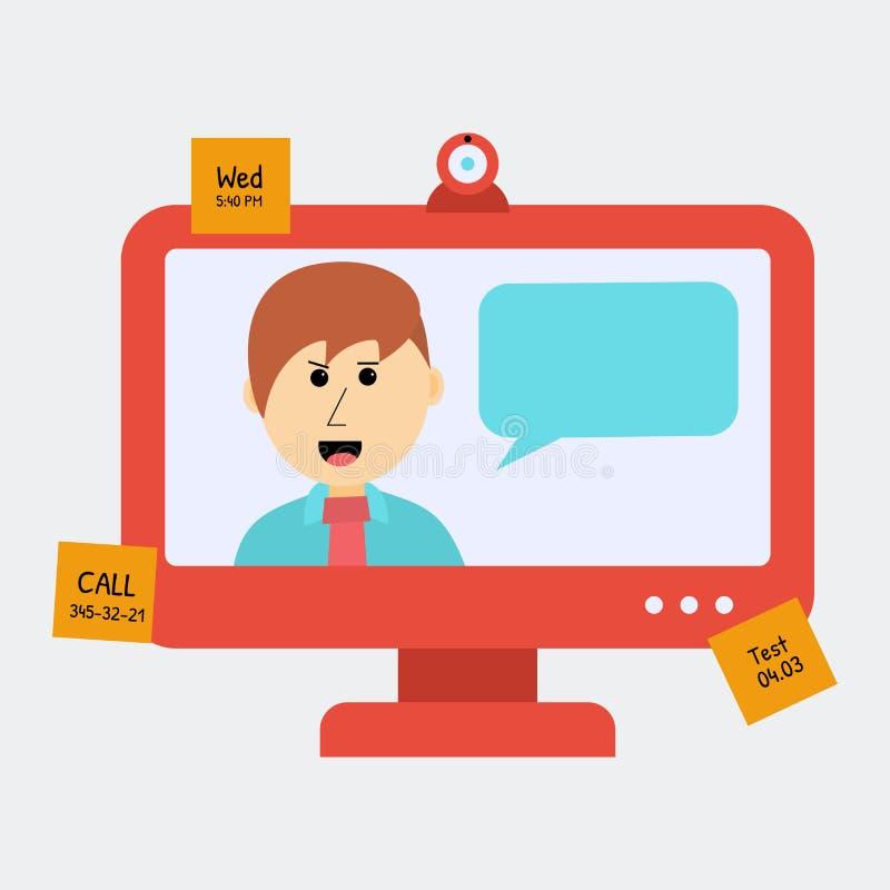 Begrepp av Onlune utbildning Man som talar något via bildskärm stock illustrationer