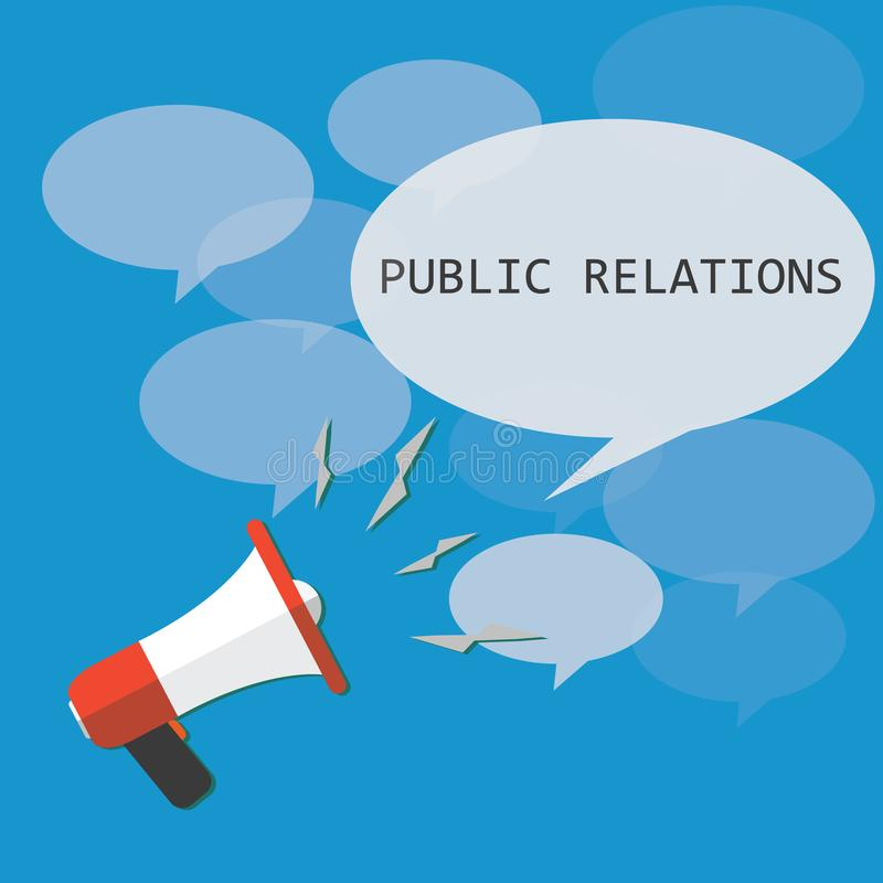 Begrepp av ord släkta med affär Vektormegafon Målåhörare Megafon och bubbla som säger PR också vektor för coreldrawillustration royaltyfri illustrationer