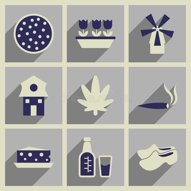 Begrepp av plana symboler med lång skugga Holland royaltyfri illustrationer